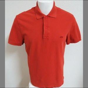 Sz 5 L Brick Red Lacoste MENS Cotton #29Z Polo